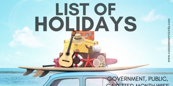 List of Holidays 2020 –  Govt. Public, Gazetted Month Wise